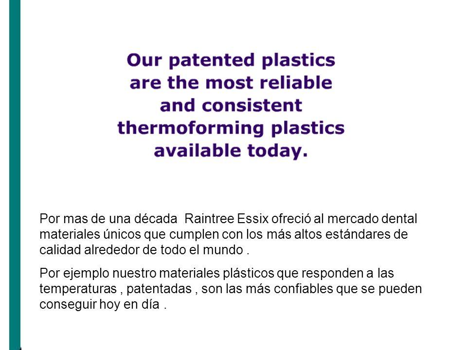 Por mas de una década Raintree Essix ofreció al mercado dental materiales únicos que cumplen con los más altos estándares de calidad alrededor de todo el mundo .