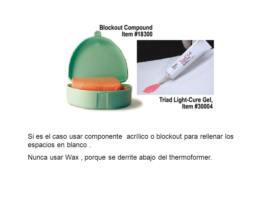 Si es el caso usar componente acrílico o blockout para rellenar los espacios en blanco .