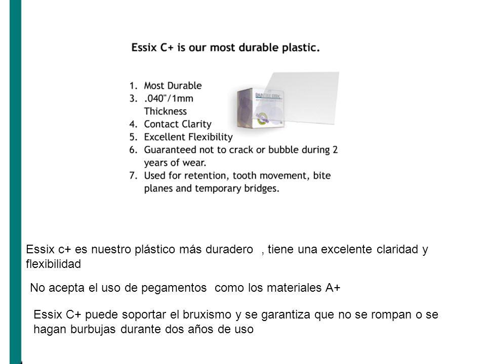 Essix c+ es nuestro plástico más duradero , tiene una excelente claridad y flexibilidad