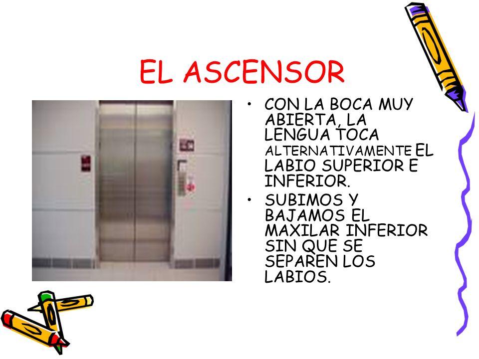 EL ASCENSOR CON LA BOCA MUY ABIERTA, LA LENGUA TOCA ALTERNATIVAMENTE EL LABIO SUPERIOR E INFERIOR.