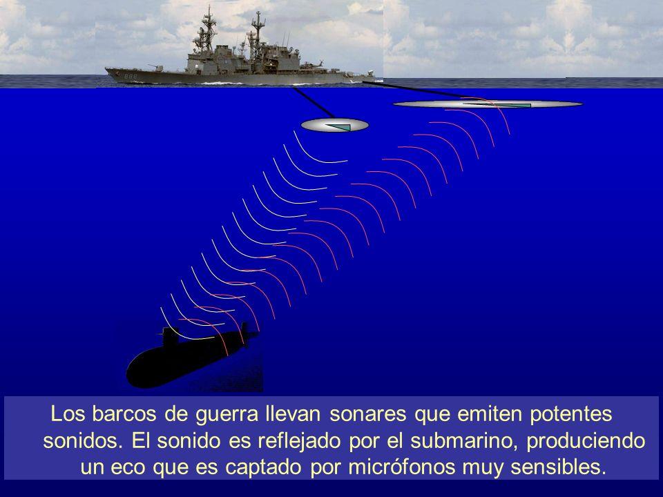 Los barcos de guerra llevan potentes sonares, que cuelgan a 120 metros de profundidad desde la cubierta del barco. Desde ahí emiten los potentes sonidos que son reflejados por submarinos se encuentren en las cercanías. El eco es captado por hidrófonos, o micrófonos acuáticos muy sensibles, que van en un segundo dispositivo atado al mismo barco. El eco permite construir imágenes tridimensionales de los submarinos que se encuentren en la zona de cobertura del eco. Es el mismo principio por el que la ecografía clínica permite conocer el sexo del feto en el vientre de su madre.