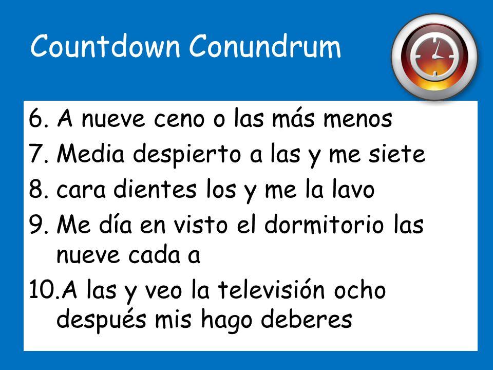 Countdown Conundrum A nueve ceno o las más menos