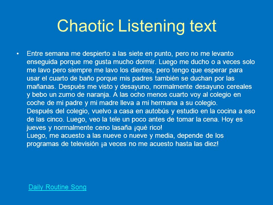 Chaotic Listening text