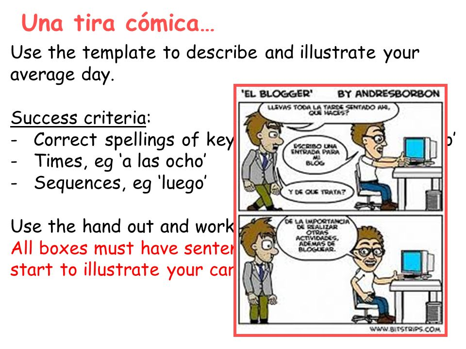 Una tira cómica… Use the template to describe and illustrate your average day. Success criteria: