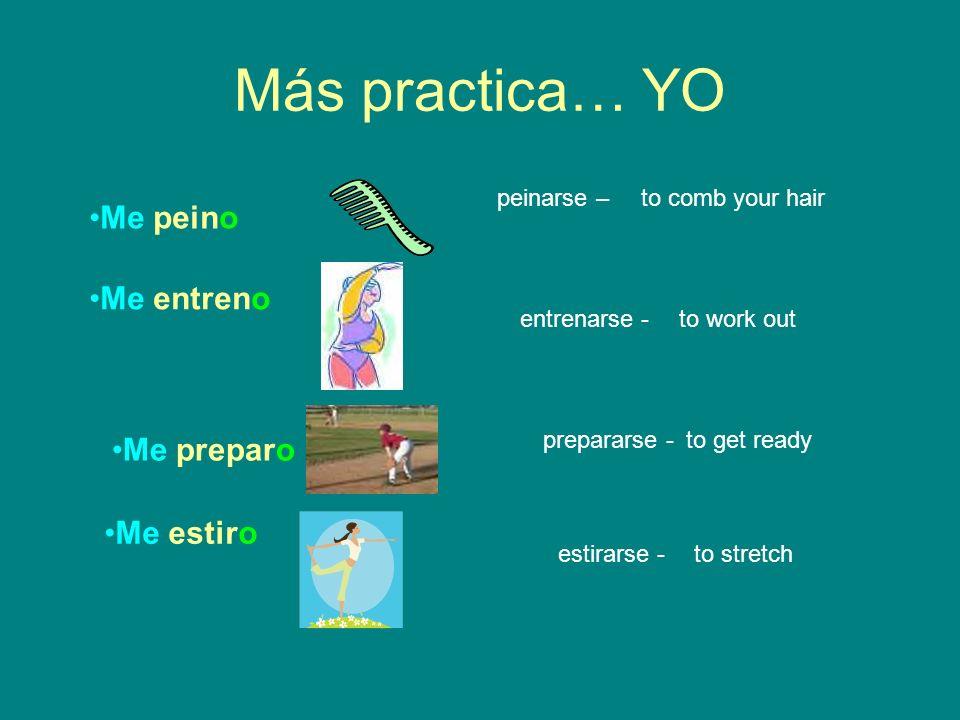 Más practica… YO Me peino Me entreno Me preparo Me estiro peinarse –