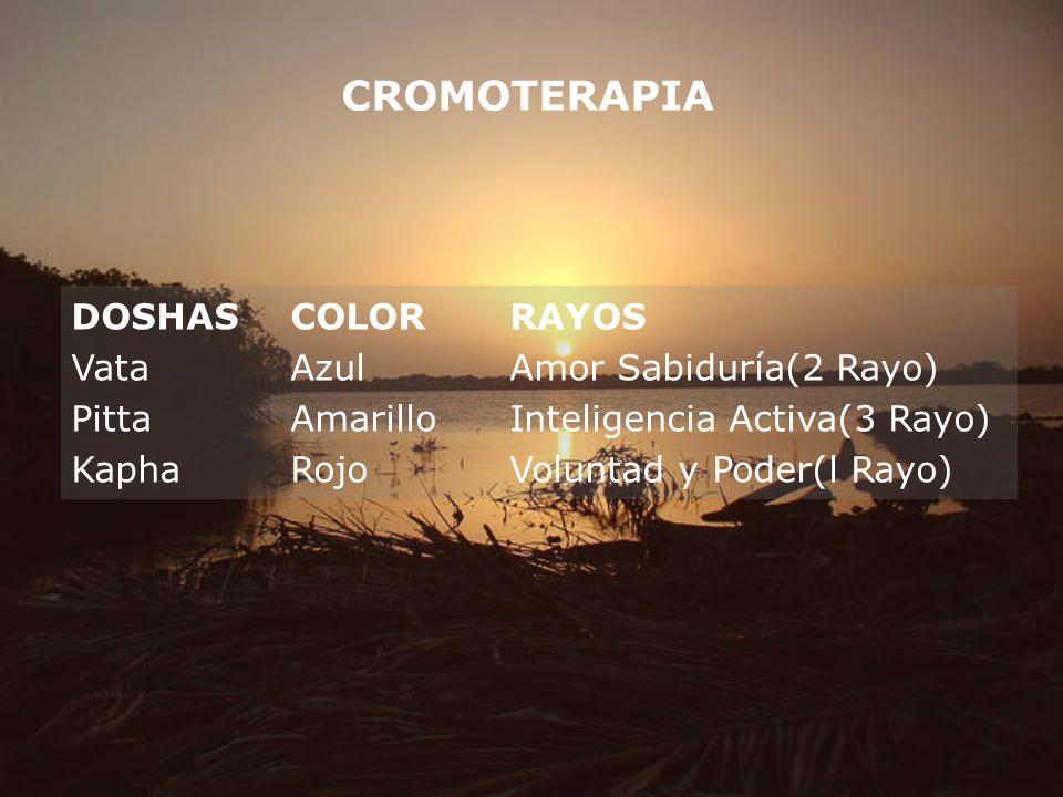 CROMOTERAPIA DOSHAS COLOR RAYOS Vata Azul Amor Sabiduría(2 Rayo)