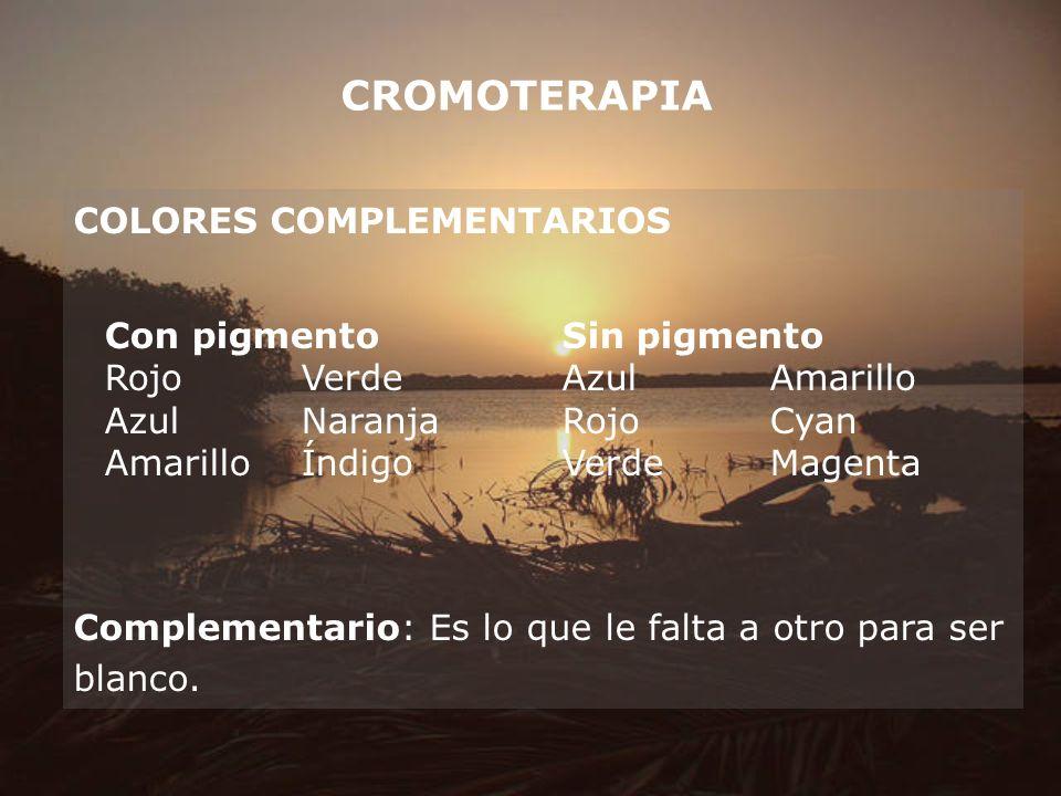 CROMOTERAPIA COLORES COMPLEMENTARIOS Con pigmento Sin pigmento