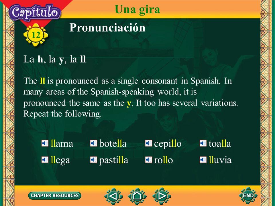 Una gira Pronunciación La h, la y, la ll llama botella cepillo toalla