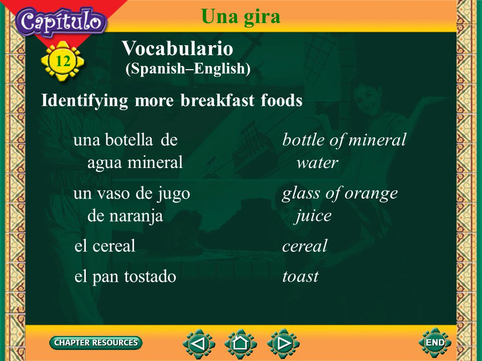 Una gira Vocabulario Identifying more breakfast foods una botella de