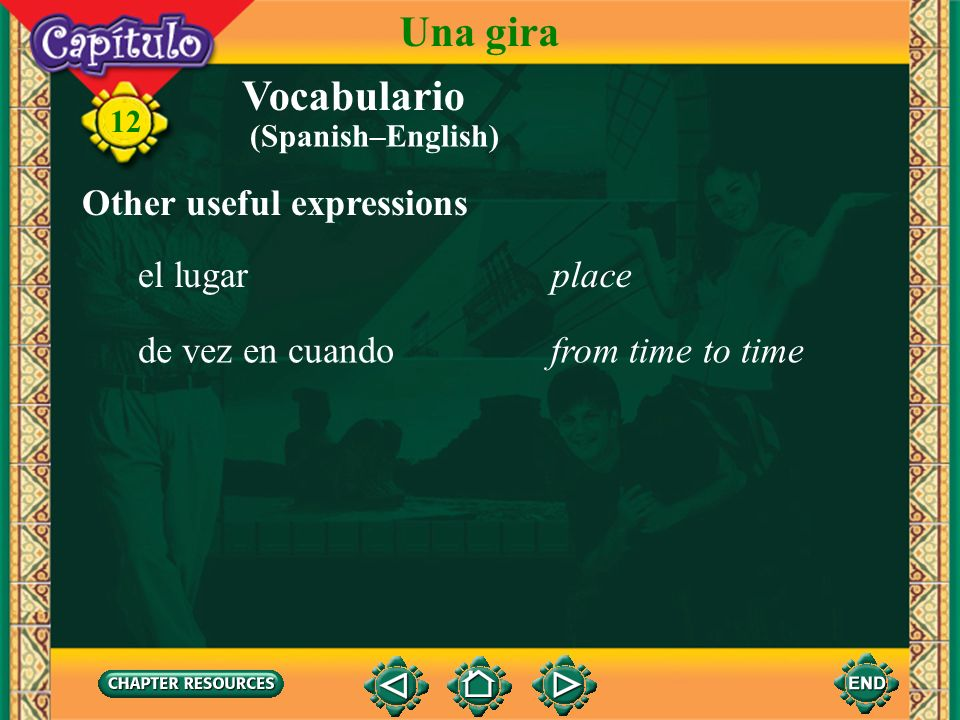 Una gira Vocabulario Other useful expressions el lugar place