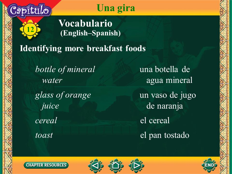 Una gira Vocabulario Identifying more breakfast foods