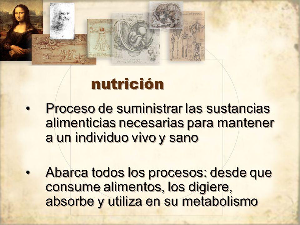 nutrición Proceso de suministrar las sustancias alimenticias necesarias para mantener a un individuo vivo y sano.