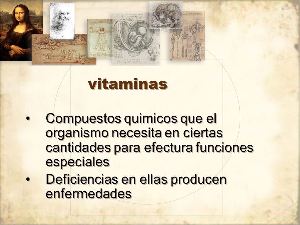 vitaminas Compuestos quimicos que el organismo necesita en ciertas cantidades para efectura funciones especiales.