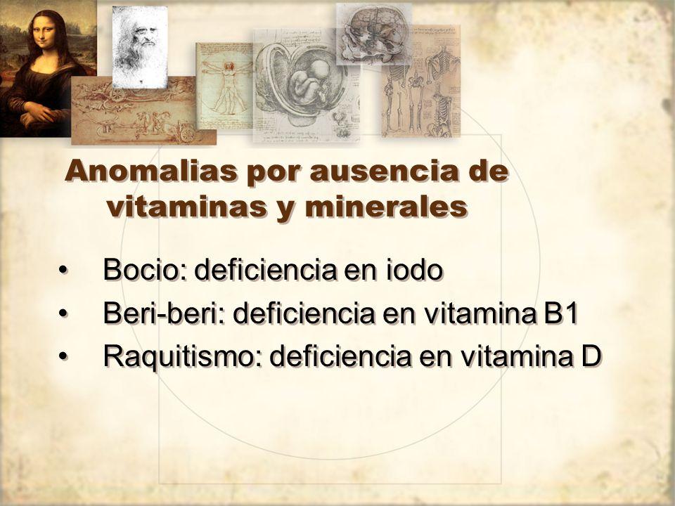 Anomalias por ausencia de vitaminas y minerales