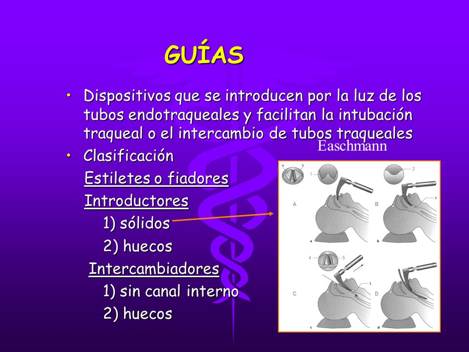 GUÍAS Dispositivos que se introducen por la luz de los tubos endotraqueales y facilitan la intubación traqueal o el intercambio de tubos traqueales.