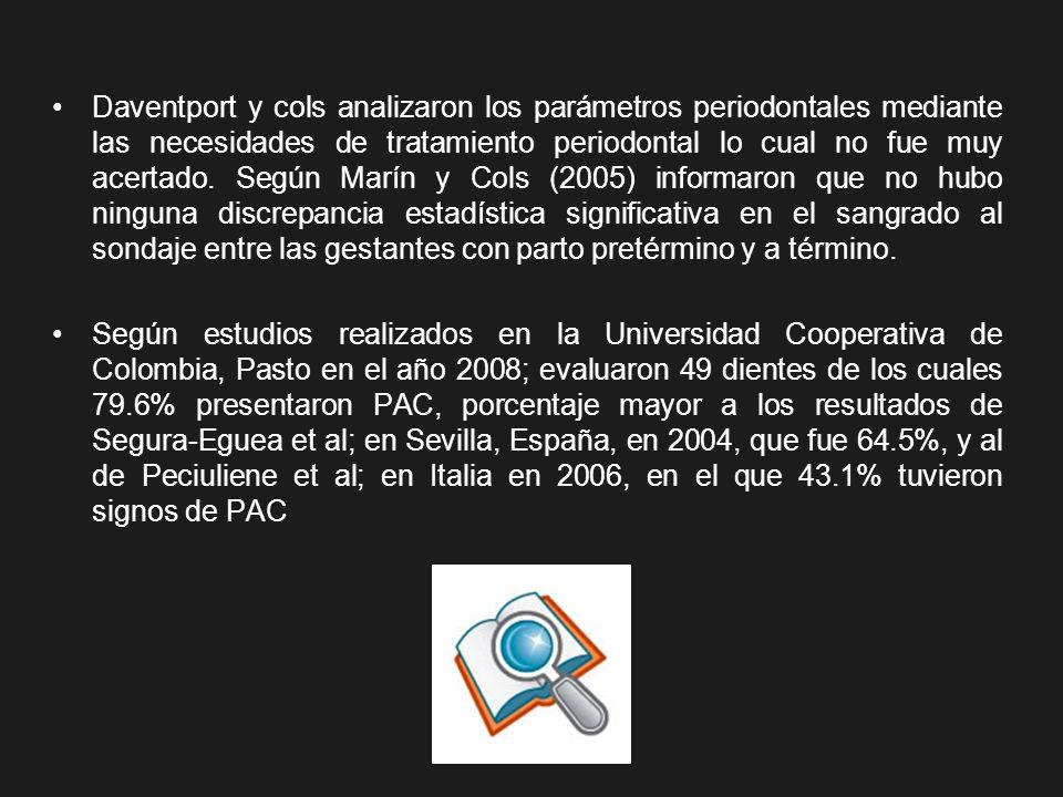 Daventport y cols analizaron los parámetros periodontales mediante las necesidades de tratamiento periodontal lo cual no fue muy acertado. Según Marín y Cols (2005) informaron que no hubo ninguna discrepancia estadística significativa en el sangrado al sondaje entre las gestantes con parto pretérmino y a término.