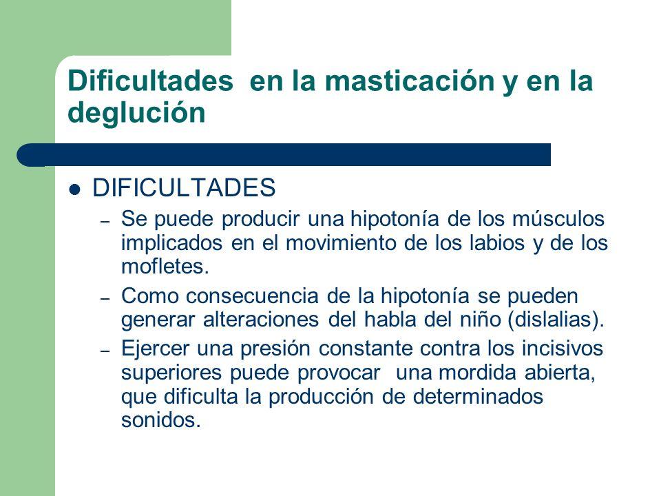 Dificultades en la masticación y en la deglución