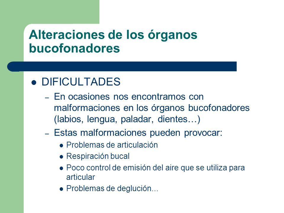 Alteraciones de los órganos bucofonadores