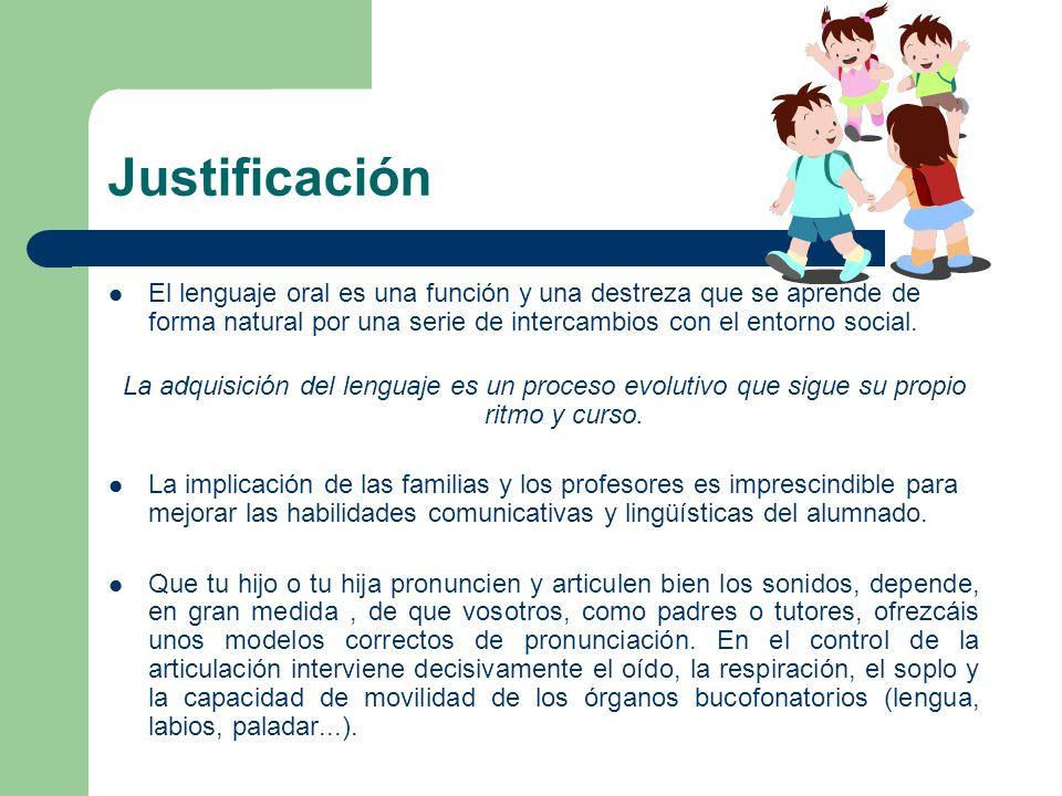 Justificación El lenguaje oral es una función y una destreza que se aprende de forma natural por una serie de intercambios con el entorno social.