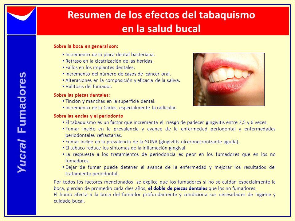 Resumen de los efectos del tabaquismo