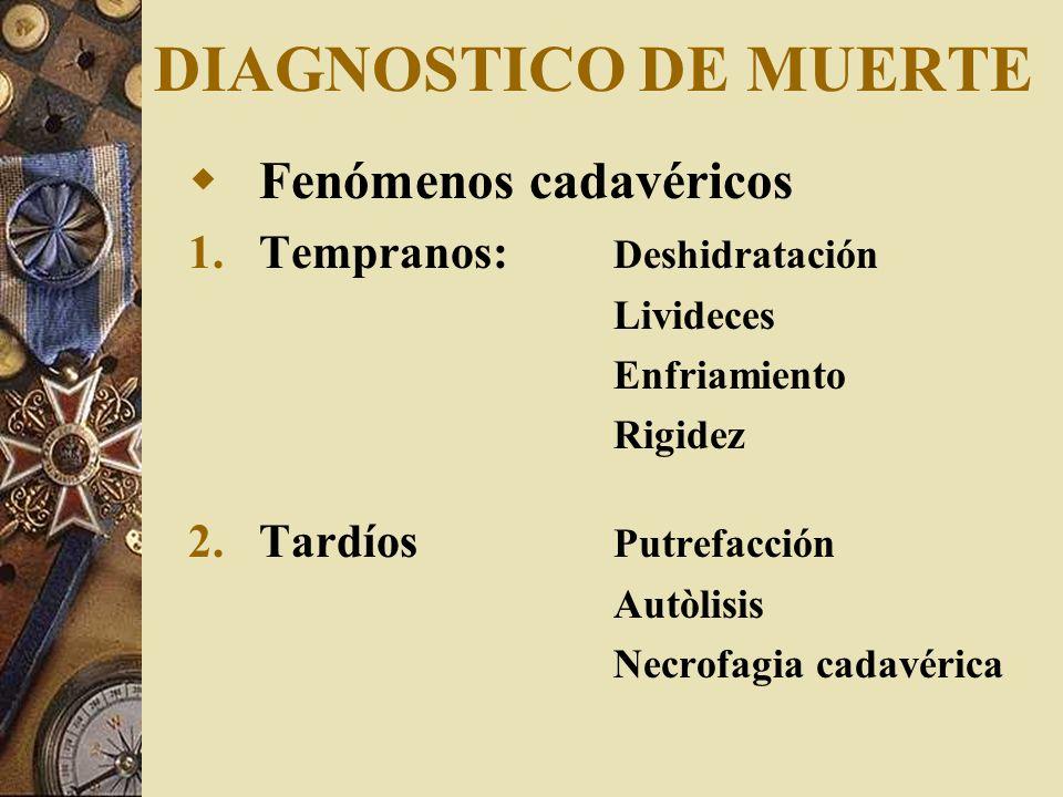 DIAGNOSTICO DE MUERTE Fenómenos cadavéricos Tempranos: Deshidratación