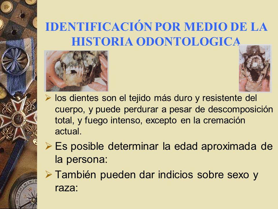 IDENTIFICACIÓN POR MEDIO DE LA HISTORIA ODONTOLOGICA