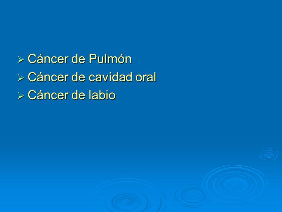 Cáncer de Pulmón Cáncer de cavidad oral Cáncer de labio