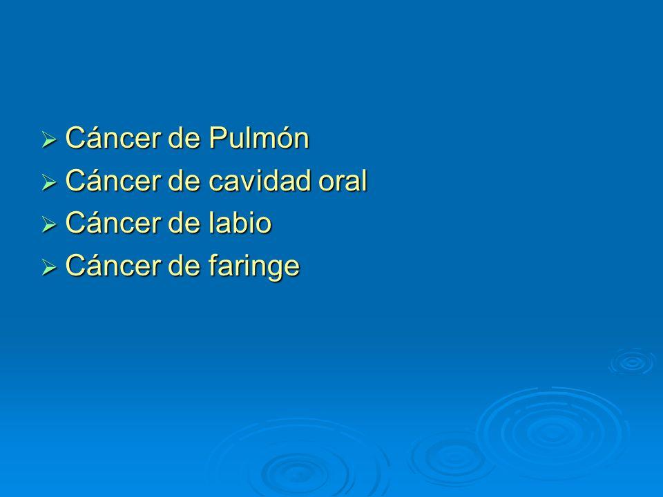Cáncer de Pulmón Cáncer de cavidad oral Cáncer de labio Cáncer de faringe