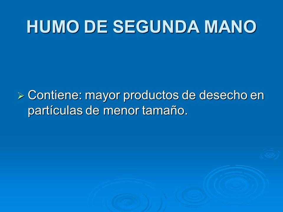 HUMO DE SEGUNDA MANO Contiene: mayor productos de desecho en partículas de menor tamaño.