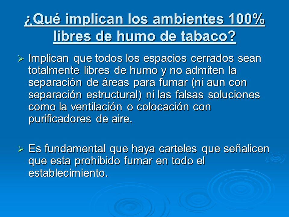 ¿Qué implican los ambientes 100% libres de humo de tabaco