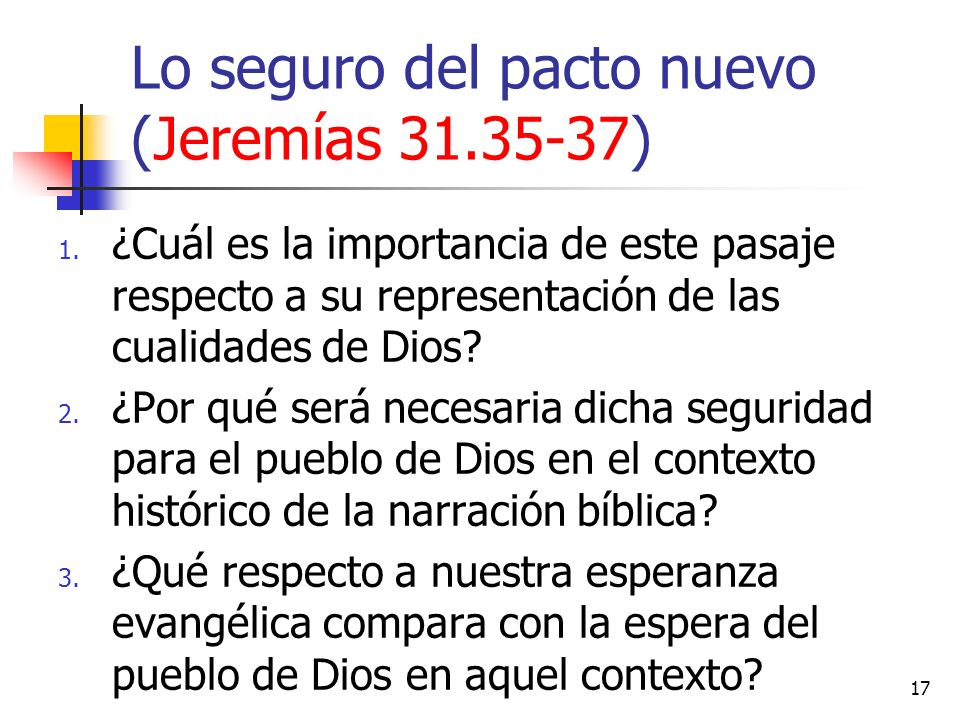Lo seguro del pacto nuevo (Jeremías 31.35-37)