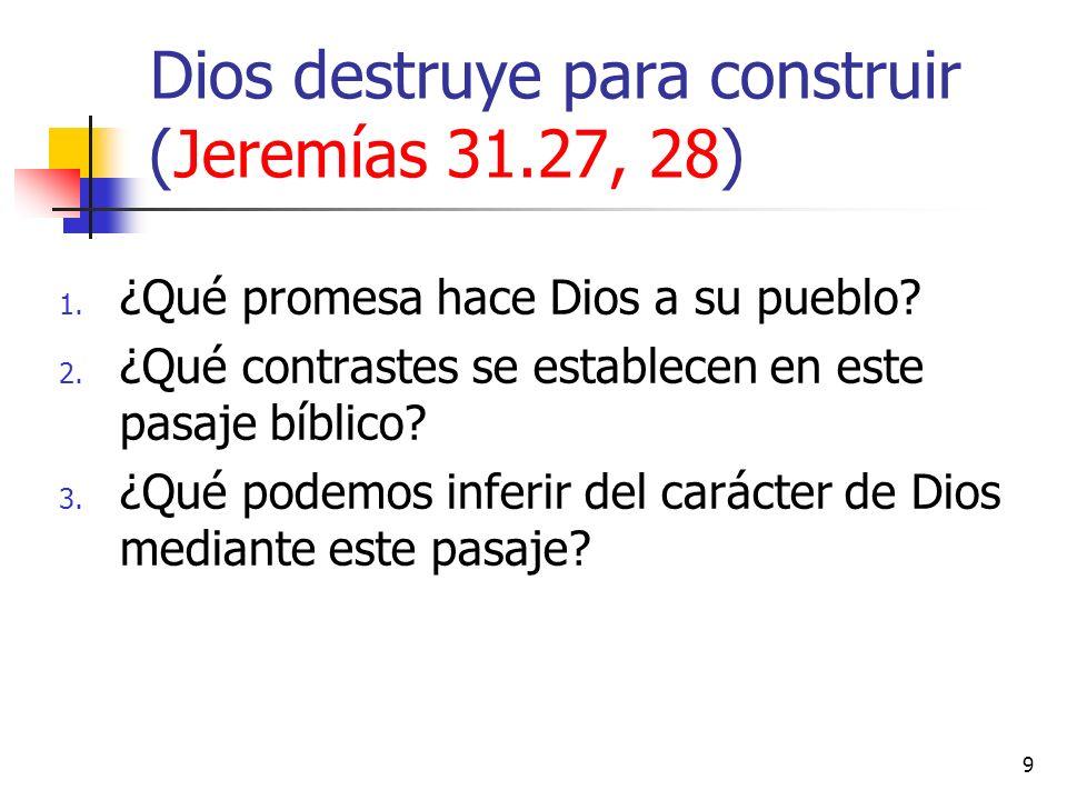 Dios destruye para construir (Jeremías 31.27, 28)