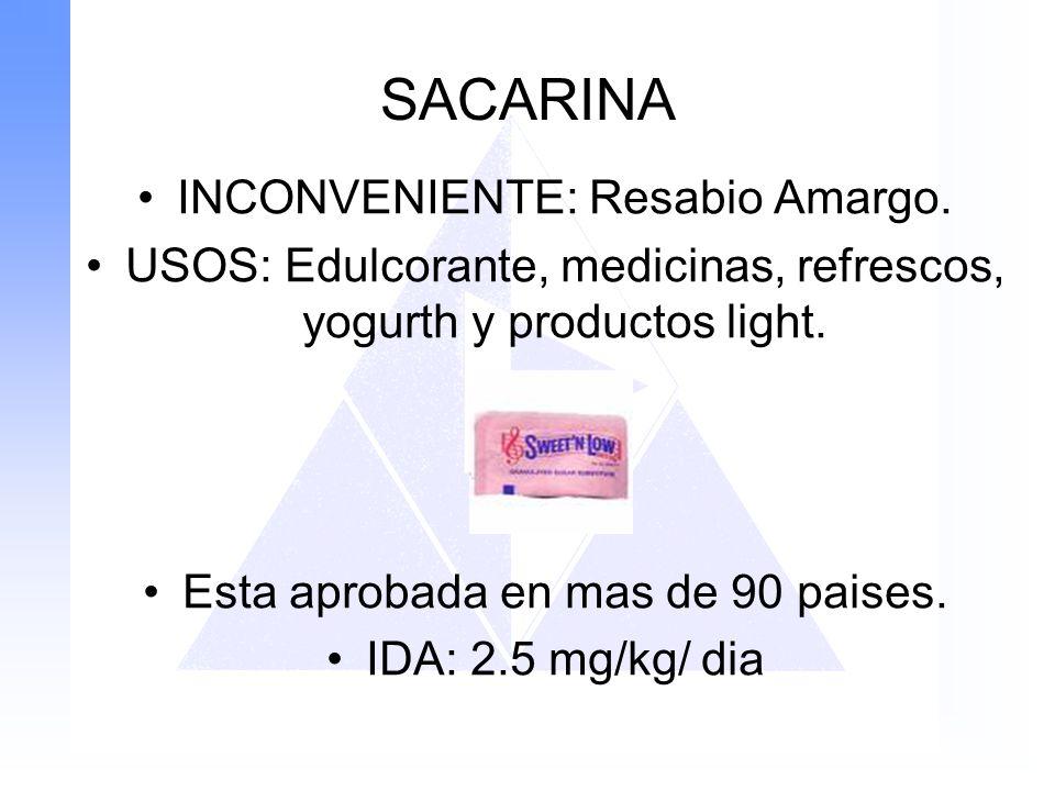 SACARINA INCONVENIENTE: Resabio Amargo.