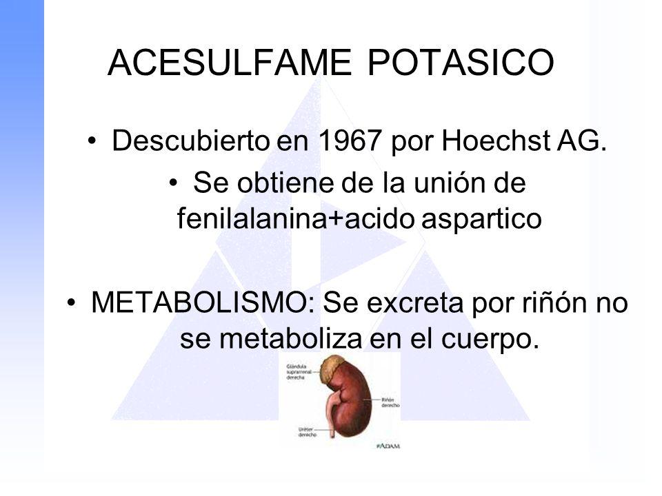 ACESULFAME POTASICO Descubierto en 1967 por Hoechst AG.