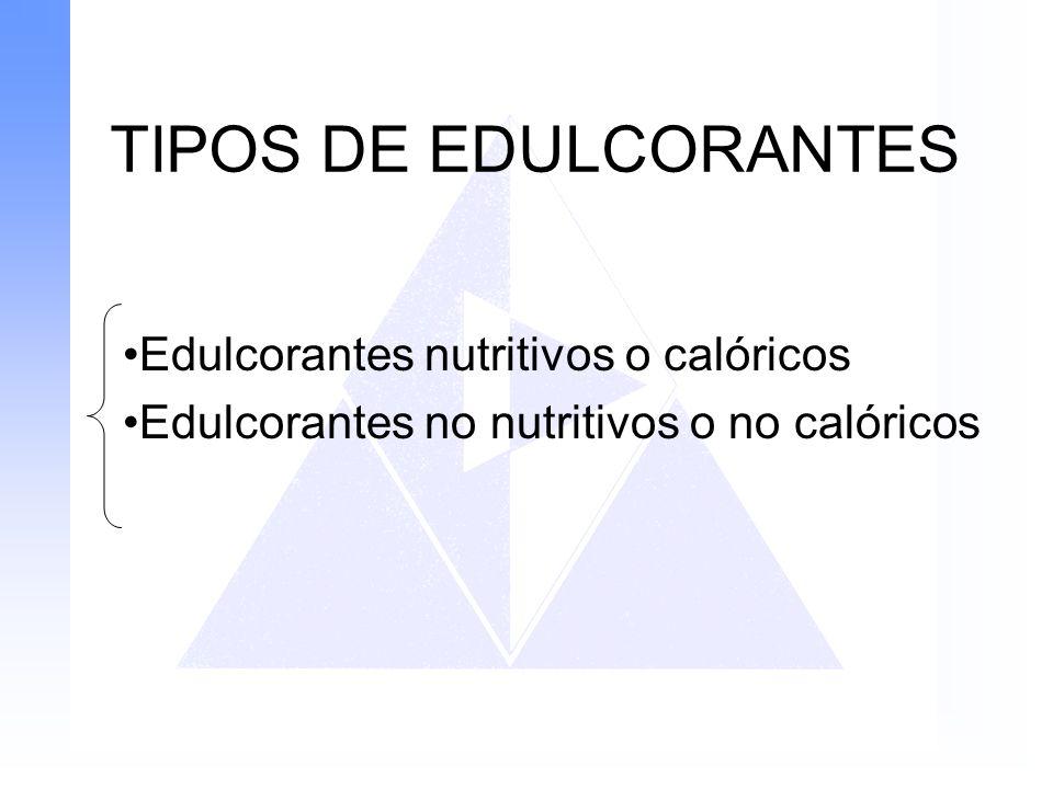 TIPOS DE EDULCORANTES Edulcorantes nutritivos o calóricos