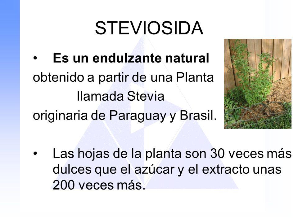 STEVIOSIDA Es un endulzante natural obtenido a partir de una Planta