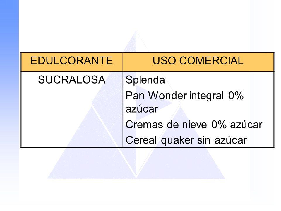 EDULCORANTE USO COMERCIAL. SUCRALOSA. Splenda. Pan Wonder integral 0% azúcar. Cremas de nieve 0% azúcar.