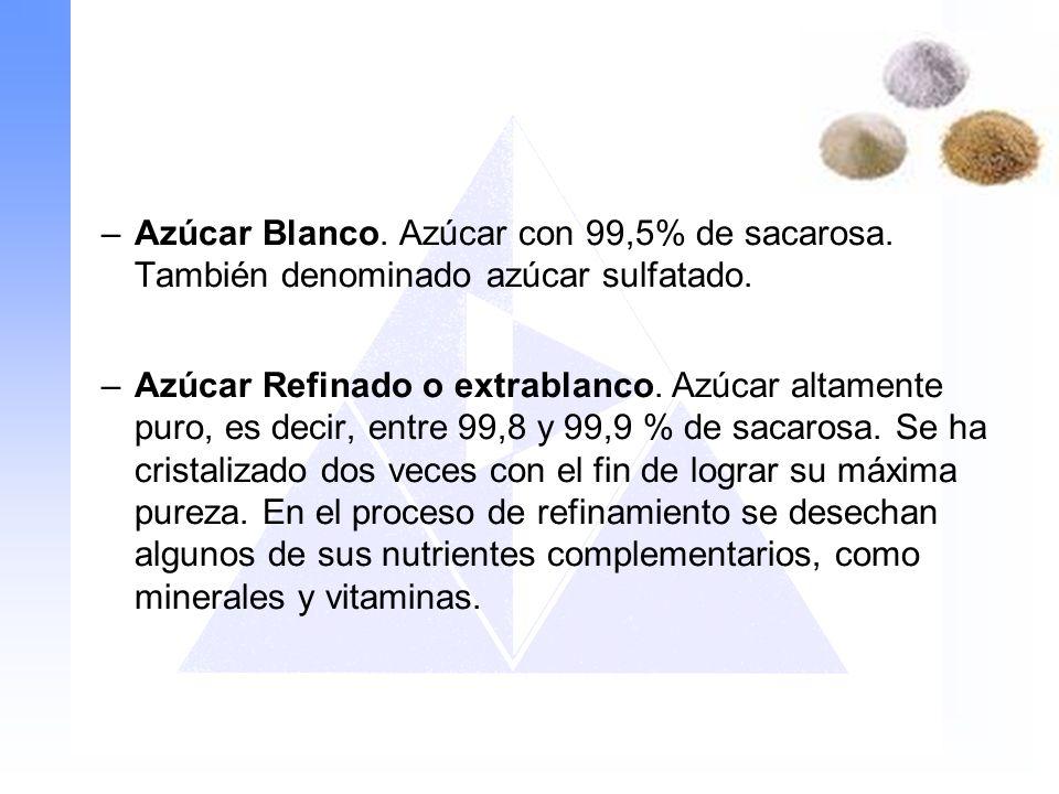 Azúcar Blanco. Azúcar con 99,5% de sacarosa