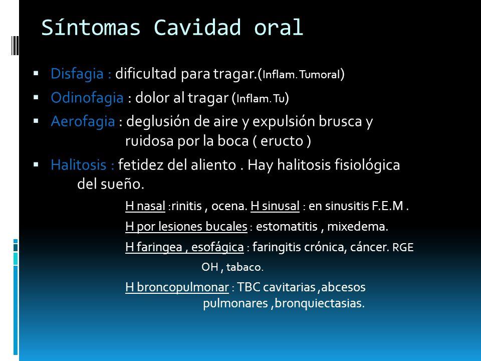 Síntomas Cavidad oral Disfagia : dificultad para tragar.(Inflam. Tumoral) Odinofagia : dolor al tragar (Inflam. Tu)