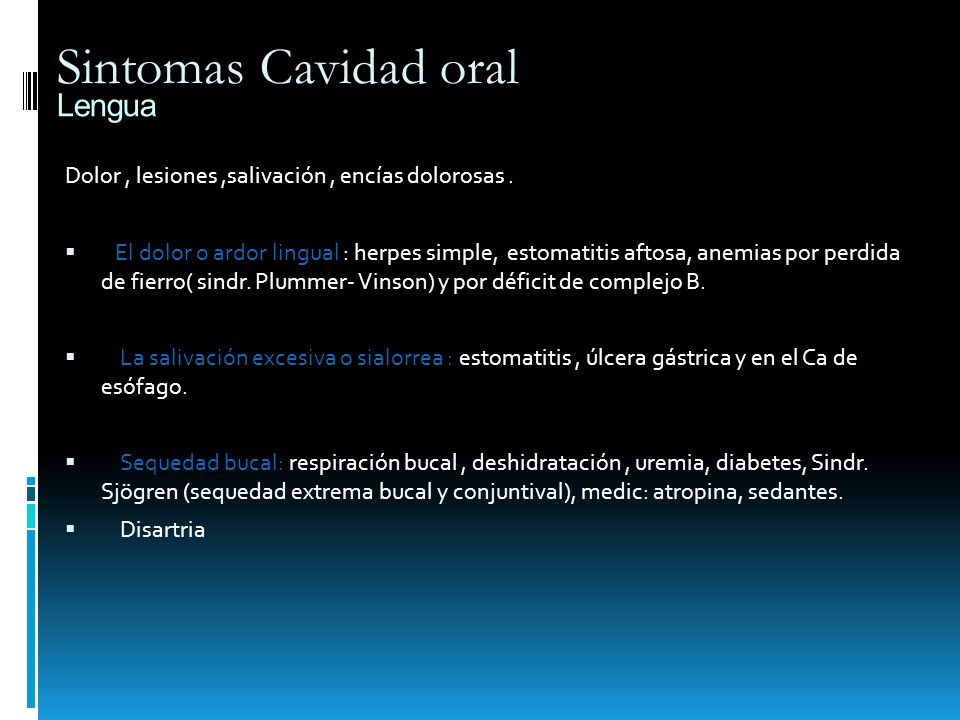 Sintomas Cavidad oral Lengua