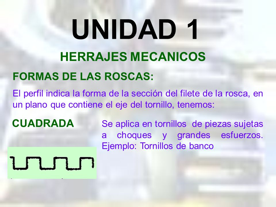 UNIDAD 1 HERRAJES MECANICOS FORMAS DE LAS ROSCAS: CUADRADA