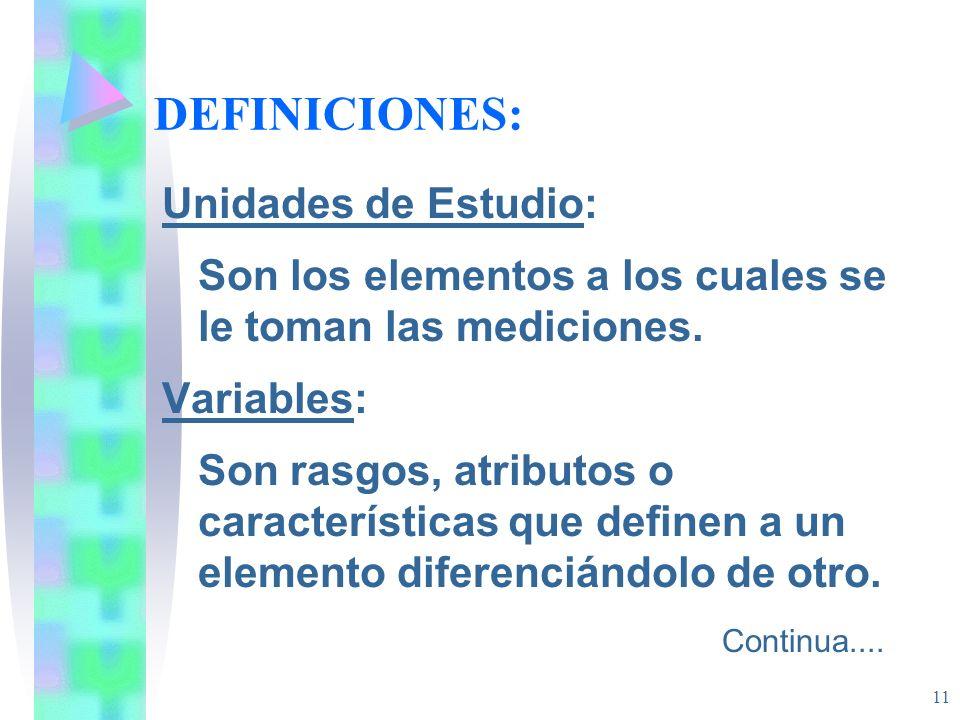 DEFINICIONES: Unidades de Estudio: