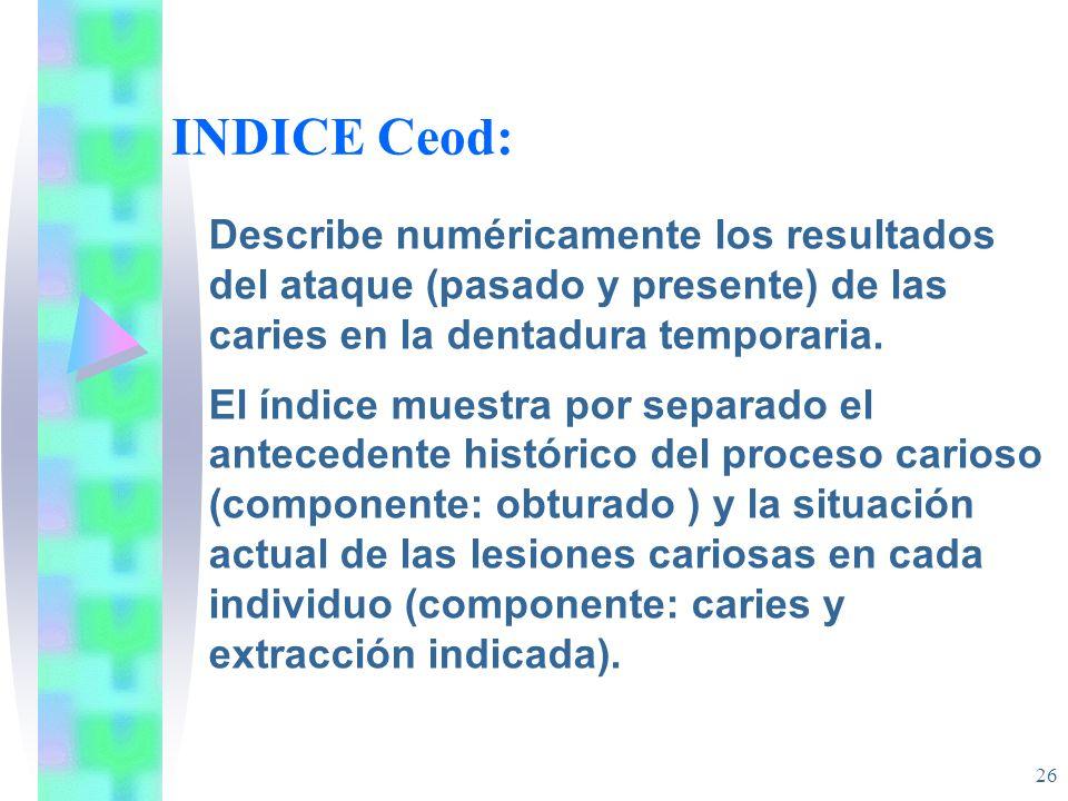 INDICE Ceod: Describe numéricamente los resultados del ataque (pasado y presente) de las caries en la dentadura temporaria.