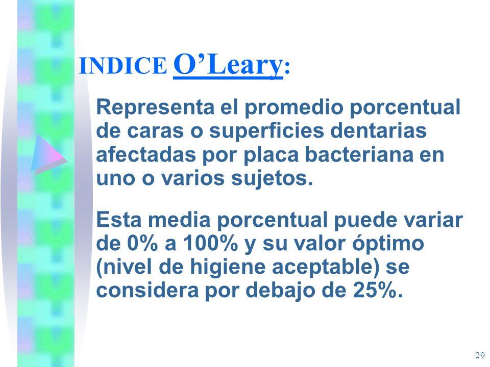 INDICE O'Leary: Representa el promedio porcentual de caras o superficies dentarias afectadas por placa bacteriana en uno o varios sujetos.