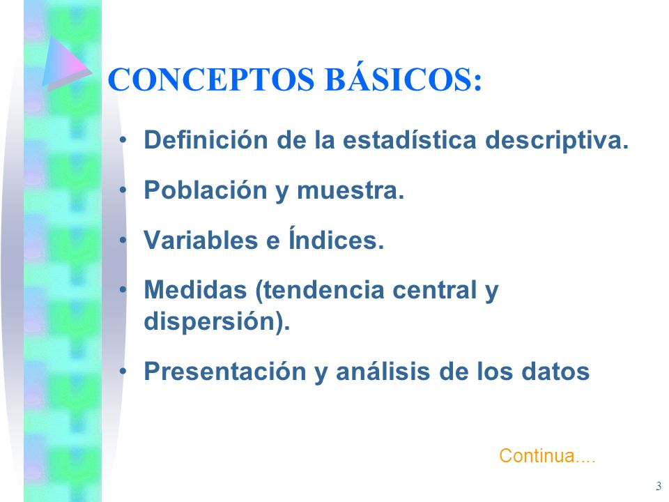 CONCEPTOS BÁSICOS: Definición de la estadística descriptiva.
