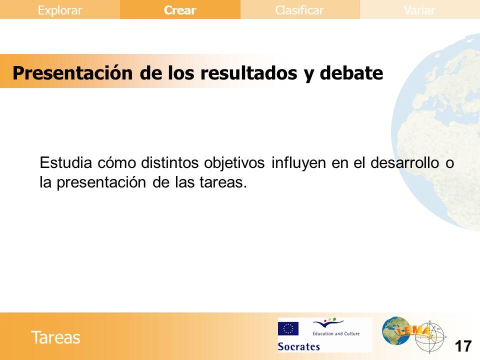 Presentación de los resultados y debate