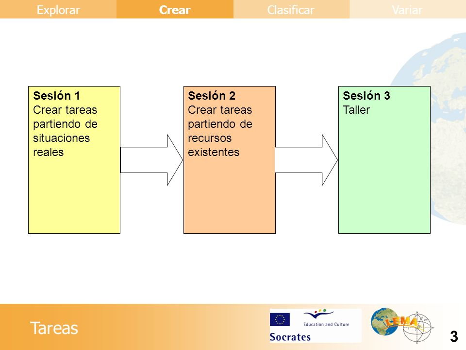 Sesión 1 Crear tareas partiendo de situaciones reales. Sesión 2. Crear tareas partiendo de recursos existentes.
