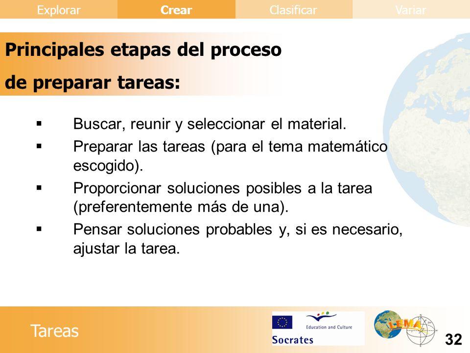 Principales etapas del proceso de preparar tareas: