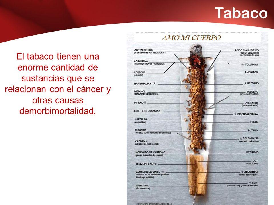 Tabaco El tabaco tienen una enorme cantidad de sustancias que se relacionan con el cáncer y otras causas demorbimortalidad.