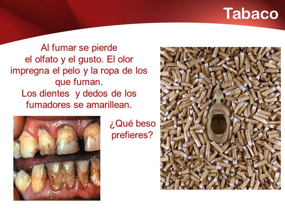 Los dientes y dedos de los fumadores se amarillean.